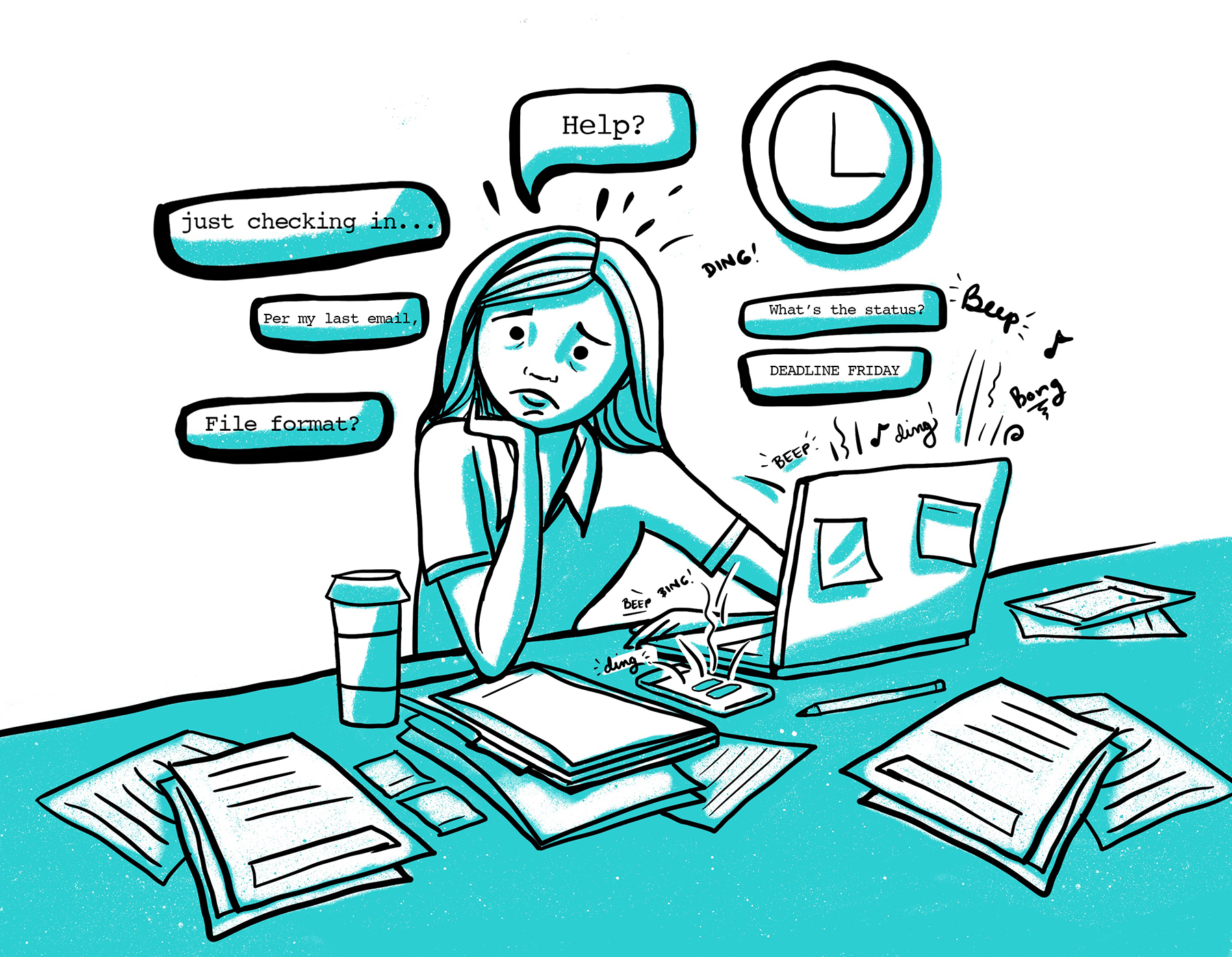Illustration of a woman using her laptop stressed about multiple notifications - social media tools for small businesses